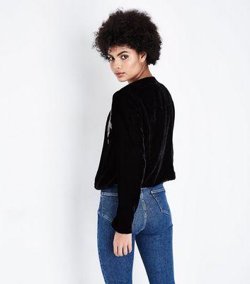 Black Embellished Velvet Cropped Jacket New Look