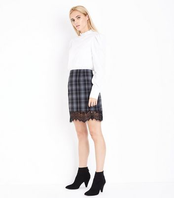 Grey Check Lace Hem Mini Skirt New Look