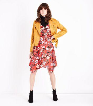 Red Floral Print Hanky Hem Wrap Dress New Look