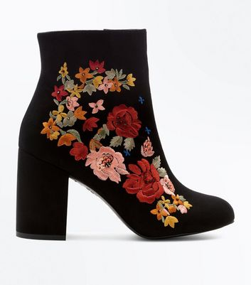 Black Suedette Embroidered Block Heel Boots New Look