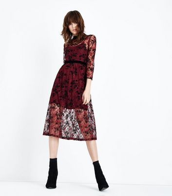 Burgundy Floral Lace Midi Dress New Look