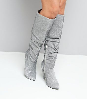 Silver Glitter Knee High Heeled Slouch Boots New Look