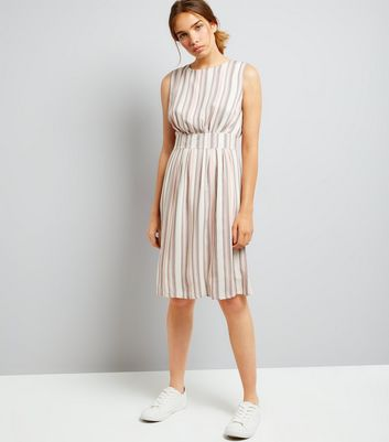 Apricot Pink Stripe Dress New Look