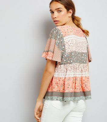 Apricot Coral Floral Print Flutter Sleeve Top New Look