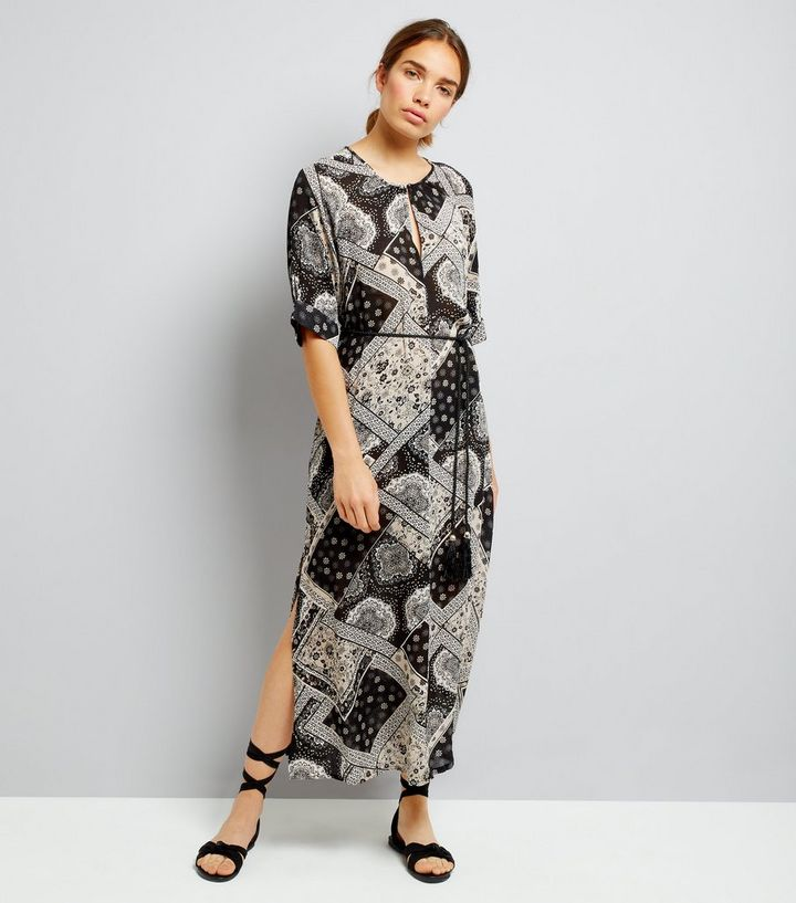 4badca01671 Apricot Black Patchwork Print Side Split Maxi Dress