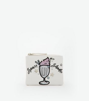 White Embroidered Space Shake Coin Purse New Look
