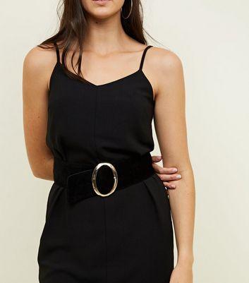 Black Suedette Wide Waist Belt New Look