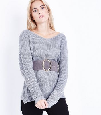 Grey Suedette Wide Waist Belt New Look