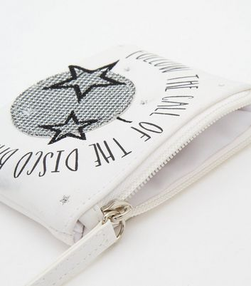 White Disco Ball Zip Top Coin Purse New Look