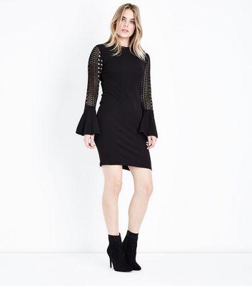 Mela Black Lace Bell Sleeve Mini Dress New Look