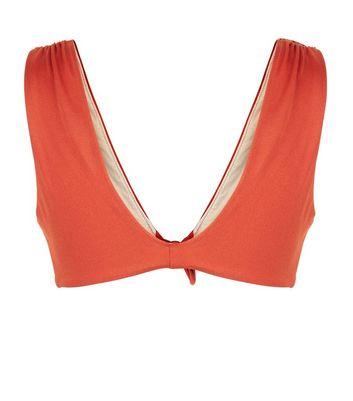 Dark Red Tie Front Plunge Bikini Top New Look