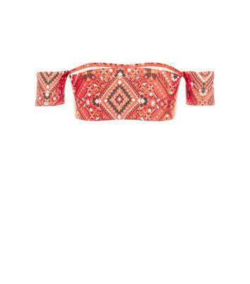 Red Aztec Print Bardot Bikini Top New Look