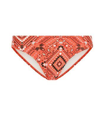 Red Aztec Print Bardot Bikini Bottoms New Look