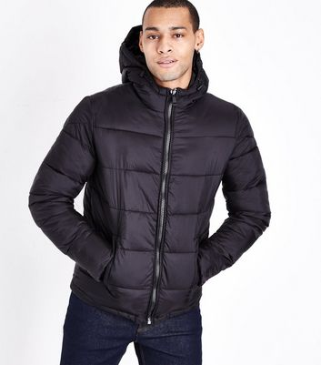 Black Hooded Puffer Jacket New Look