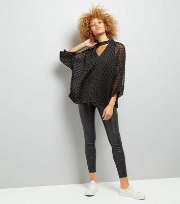 Mela Black Velvet Polka Dot Choker Neck Top New Look