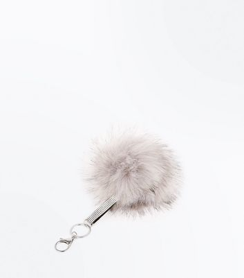 Grey Diamante Strap Pom Pom Key Ring New Look