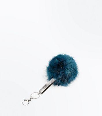 Blue Diamante Strap Pom Pom Key Ring New Look