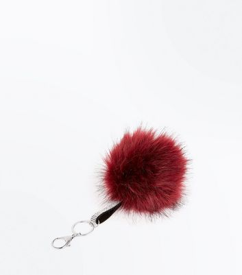 Red Diamante Strap Pom Pom Key Ring New Look