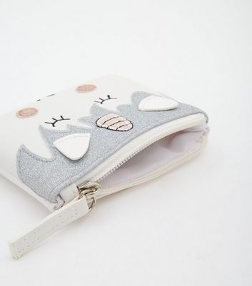 White Unicorn Zip Top Purse New Look