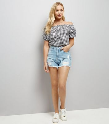 Pale Blue Denim Ripped Shorts New Look