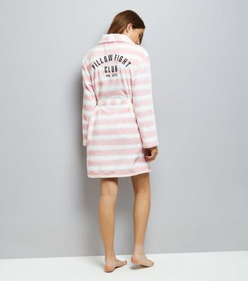 Cream Stripe Embroidered Robe New Look