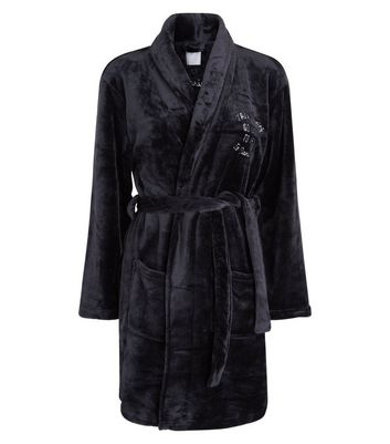 Black Go Back To Bed Slogan Embroidered Robe New Look