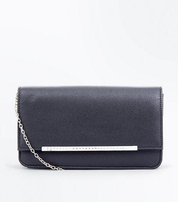 Black Diamante Bar Clutch New Look