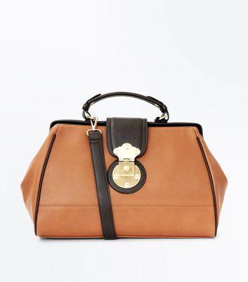 Tan Contrast Handle Doctors Bag New Look