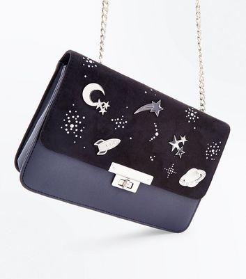 Black Space Pin Embellished Shoulder Bag New Look
