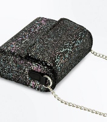 Blue Glitter Curved Shoulder Bag New Look
