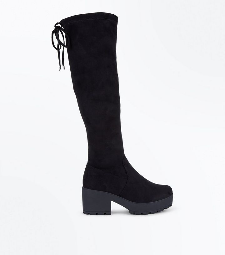 7332887d215 Teens Black Suedette Chunky Knee High Boots