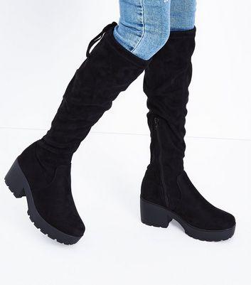 Teens Black Suedette Chunky Knee High