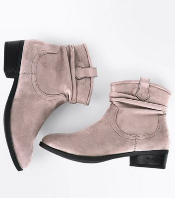Teens Light Brown Suedette Slouch Western Boots New Look