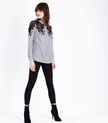 Black Stripe Lace Shoulder Shirt New Look