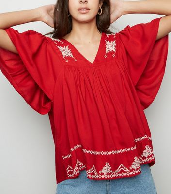 Red Lattice Back Embroidered Top