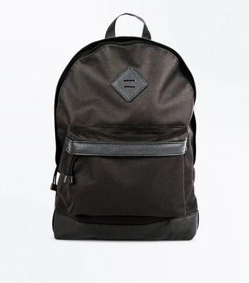 Black Leather-Look Trim Backpack New Look