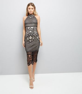 Parisian Black Crochet Bodycon Midi Dress New Look