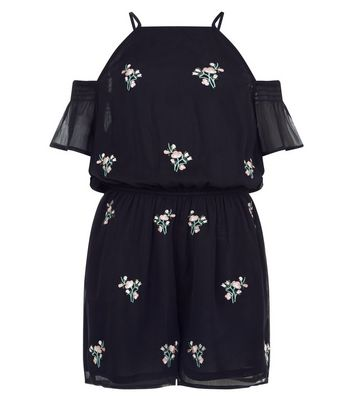 Teens Black Chiffon Floral Embroidered Cold Shoulder Playsuit New Look