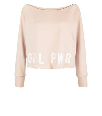 Shell Pink Grl Pwr Print Sports Sweater New Look