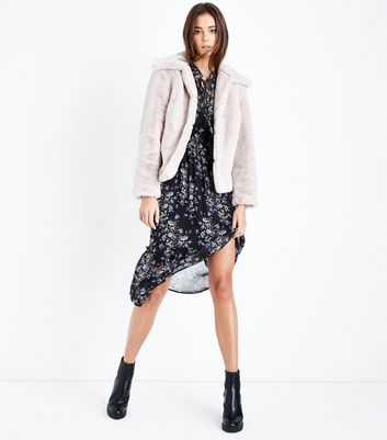 Pink Short Faux Fur Coat New Look
