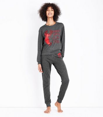 Dark Grey Lob-Star Embroidered Logo Pyjama Joggers New Look