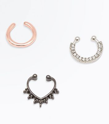 3 Pack Metallic Embellished Faux Septum Rings New Look