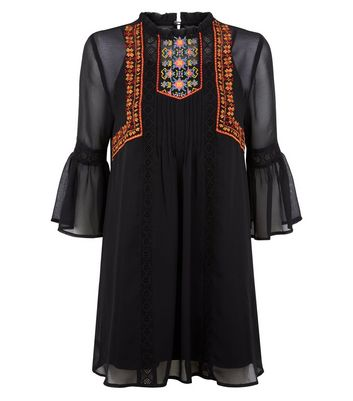 Petite Black Embroidered Bell Sleeve Smock Dress New Look