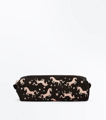 Black Unicorn Embroidered Pencil Case New Look