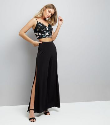 Black Mesh Floral Embroidered Bralet New Look