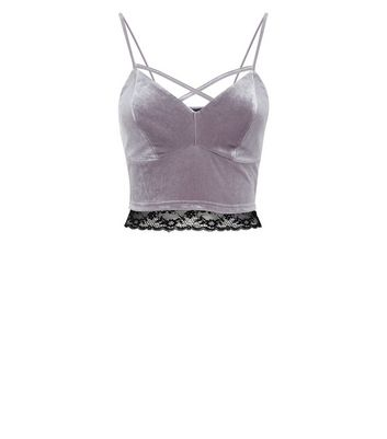 Grey Velvet Cross Strap Front Bralet New Look