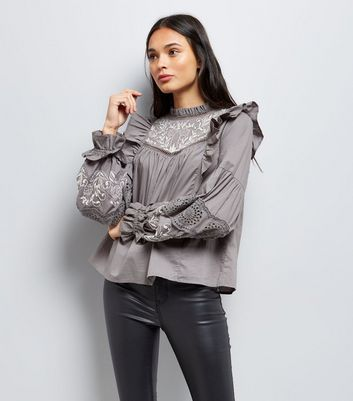 Grey Embroidered Frill Trim Top New Look