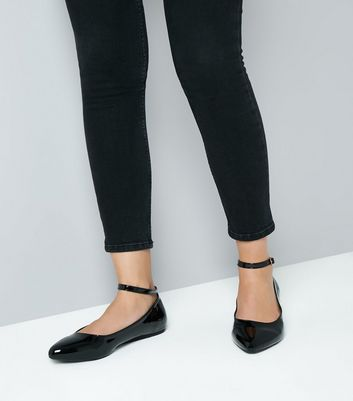 Wide Fit Black Patent Ankle Strap Pumps New Look