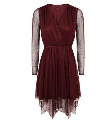 Burgundy Spot Mesh Hanky Hem Wrap Front Dress New Look