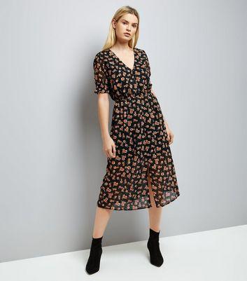 black-floral-print-button-front-floral-midi-dress